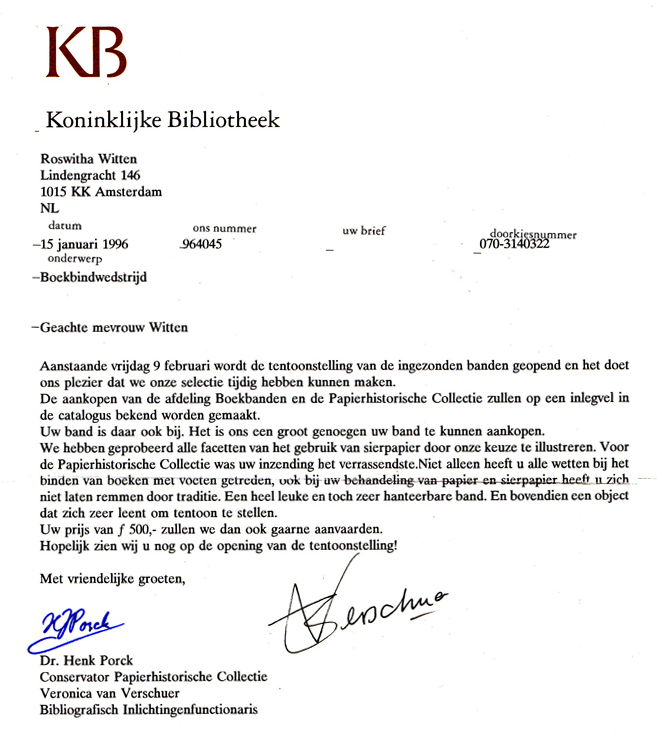 1996 brief van Henk Porck